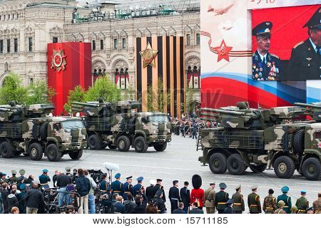 MOSCOW - MAY 6: Pantsir-S1  range surface-to-air missile in the Dress rehearsal of Military Parade on 65th anniversary of Victory in Great Patriotic War on May 6, 2010 on Red Square in Moscow, Russia