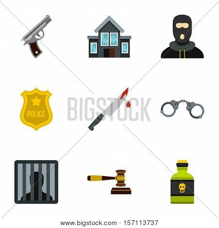 Lawlessness icons set. Flat illustration of 9 lawlessness vector icons for web