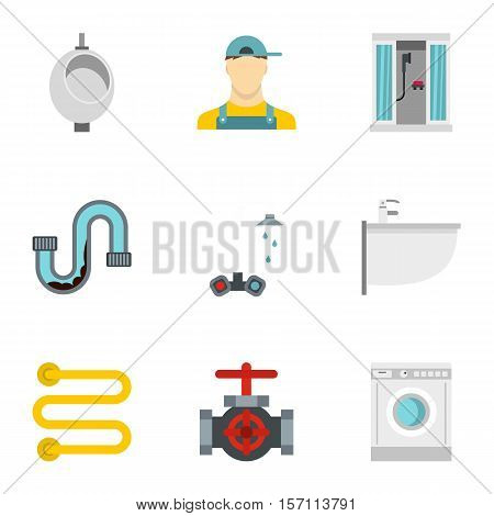 Toilet icons set. Flat illustration of 9 toilet vector icons for web