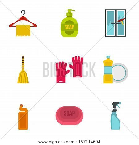 Cleansing icons set. Flat illustration of 9 cleansing vector icons for web