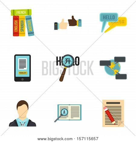 Language learning icons set. Flat illustration of 9 language learning vector icons for web