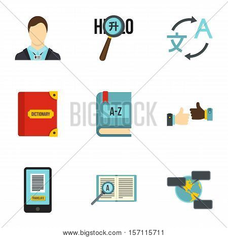 Languages icons set. Flat illustration of 9 language vector icons for web