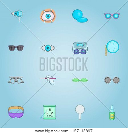 Vision icons set. Cartoon illustration of 16 vision vector icons for web