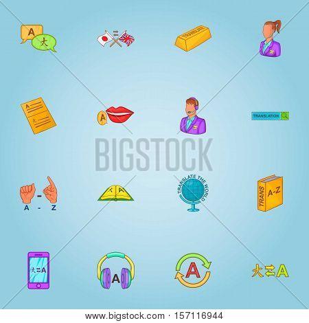 Translation icons set. Cartoon illustration of 16 translation vector icons for web