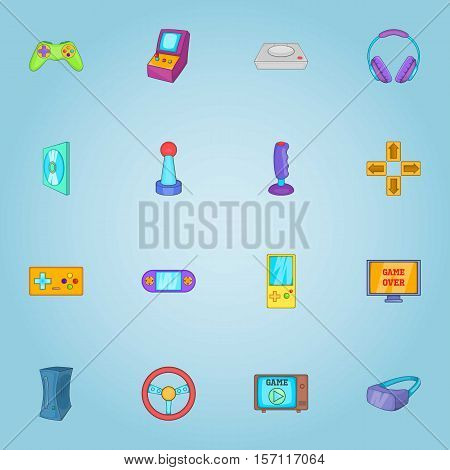 Game icons set. Cartoon illustration of 16 game vector icons for web