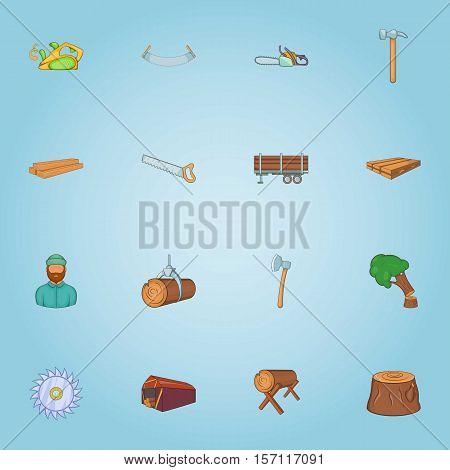 Felling of trees icons set. Cartoon illustration of 16 felling of trees vector icons for web