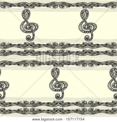 Seamless pattern with Treble clef  notes  musical stanza in  Zen-tangle style  black on white for relax coloring book or  for decorate package clothes copybook or for web information about music