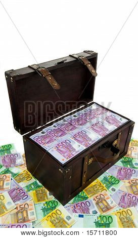 Chest with Euro banknotes