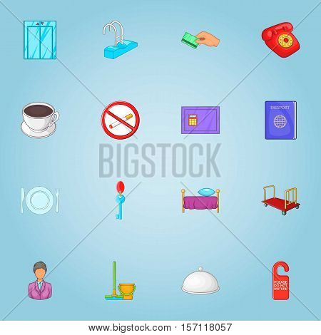 Staying in hotel icons set. Cartoon illustration of 16 staying in hotel vector icons for web