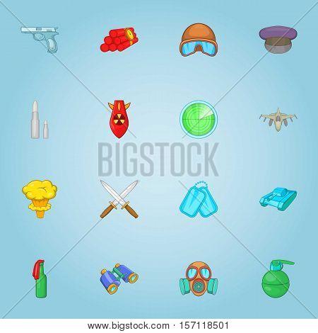 Military equipment icons set. Cartoon illustration of 16 military equipment vector icons for web