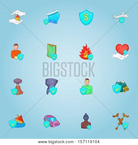 Accident icons set. Cartoon illustration of 16 accident vector icons for web