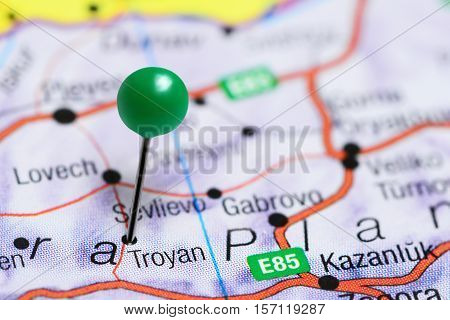 Troyan pinned on a map of Bulgaria