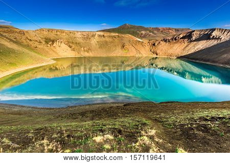 Blue Lake In The Crater Of A Volcano In Iceland
