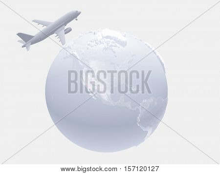 Aircraft above earth   3D Render  Some elements provided courtesy of NASA