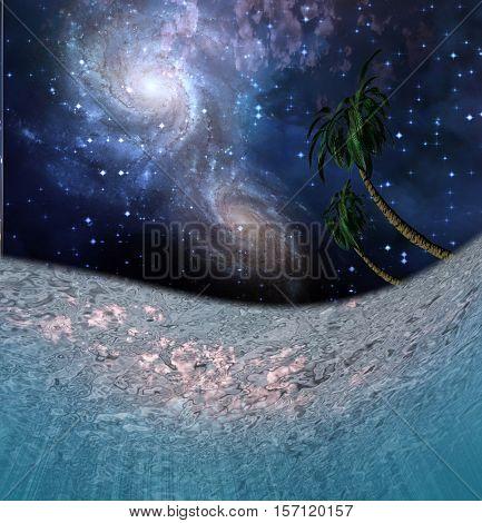 Tropic Night Underwater Scene   3D Render  Some elements provided courtesy of NASA