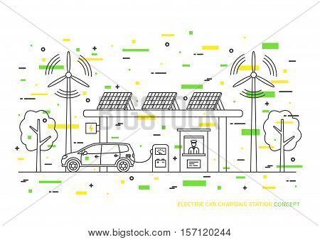 Electric car charging station vector illustration with decorative colorful elements. Electric hybrid automobile charging at the eco power station with solar panels and wind turbines creative concept.