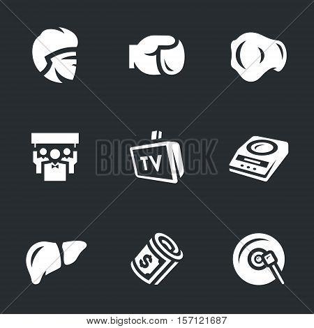 boxer, gloves, belts, fans, TV, scales, liver, money, gong