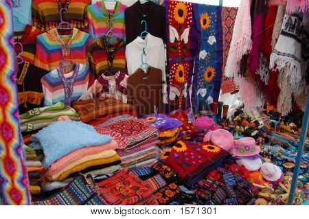 Street Market With Colorful Gifts In Chiapas, Mexico