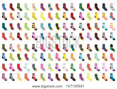 Socks big set icons. Socks collection, flat design. Socks isolated on white background. Warm woolen socks with cute patterns. Winter socks. Vector illustration