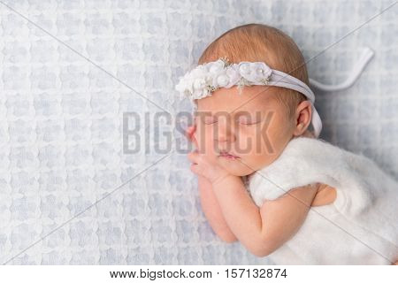 sweet newborn girl sleeping on her hands with flowers on headband
