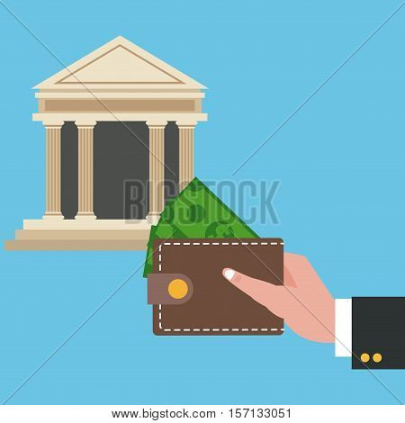 Wallet and bank icon. Shopping commerce market buy and payment theme. Colorful design. Vector illustration