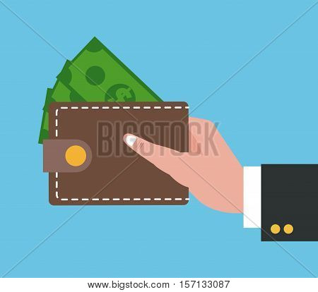 Wallet icon. Shopping commerce market buy and payment theme. Colorful design. Vector illustration
