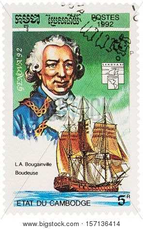 MOSCOW RUSSIA - NOVEMBER 12 2016: A stamp printed in Cambodia shows Louis de Bougainville (1729-1811) and ship