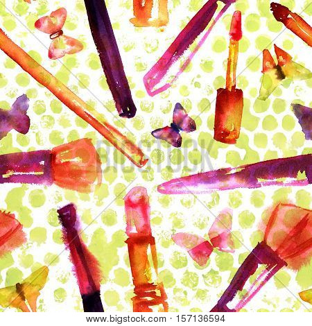 A seamless background pattern with freehand watercolor drawings of makeup brushes, lipstick, and gloss, and tender butterflies on green dots