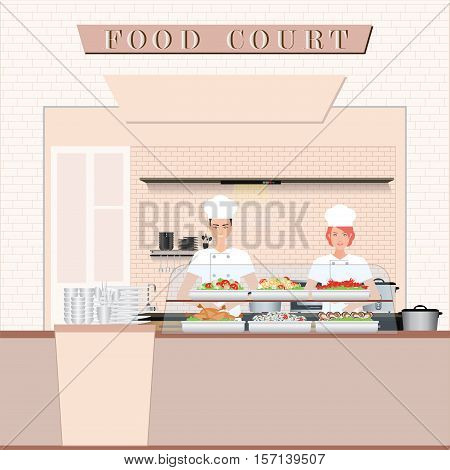 Chef cooking at Food court in a shopping mall flat design vector illustration.