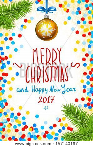 Merry Christmas And Happy New Year 2017 Greeting Card, Vector Illustration. Confetti On The Table, A