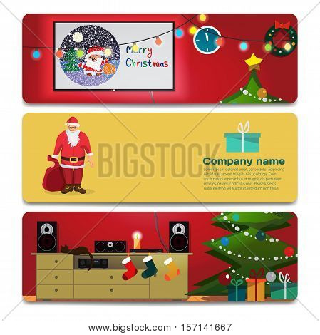 Interior with TV and stereo system decorated for Christmas. Sale discount gift card. Branding design for the gift shop and holiday sales