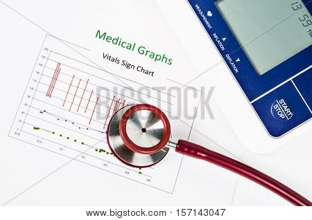 Vitals sign chart Medical Graphs and Measuring blood pressure with red stethoscope on white background. Vital sign record concept.