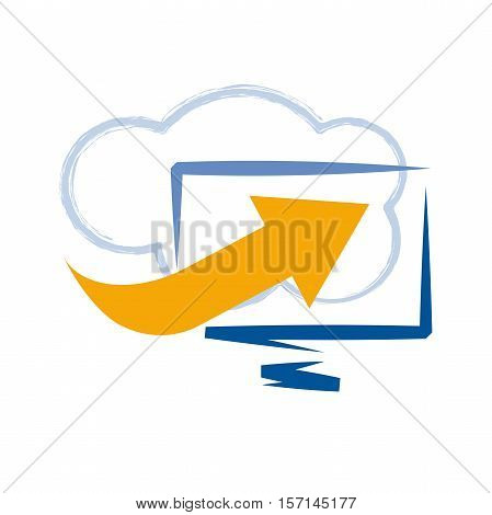 Vector Cloud computing and mobility concept in abstract shape
