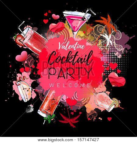 Cocktail party poster design. Cocktail menu. Valenine`s day