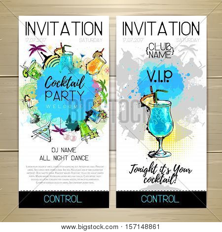 Vector illustration of Cocktail party poster. Invitation design.