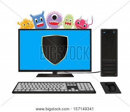 a desktop computer with virus protection vector