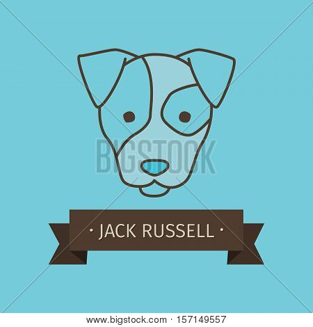 Jack russel breed dog for logo design. Vector colored hand drawn dog head