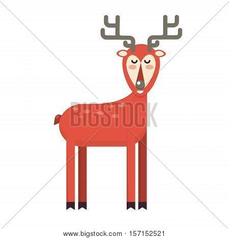 Happy smiling christmas deer cartoon character standing. Cheerful positive xmas reindeer. Santa red caribou vector icon illustration. Holiday elk symbol