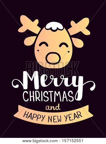 Vector Illustration Of Golden Color Stylized Head Of Christmas Reindeer With Handwritten Text Merry