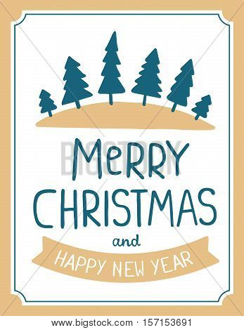 Vector Illustration Of Green Color Christmas Fir Trees With Handwritten Text Merry Christmas On Whit