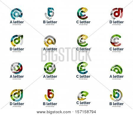 set of letter logo icons, abstract geometric style