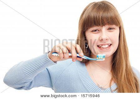 Teenager Brushing Teeth