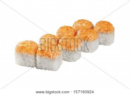 hot baked roll, cap, Sushi roll isolated on white background for the menu