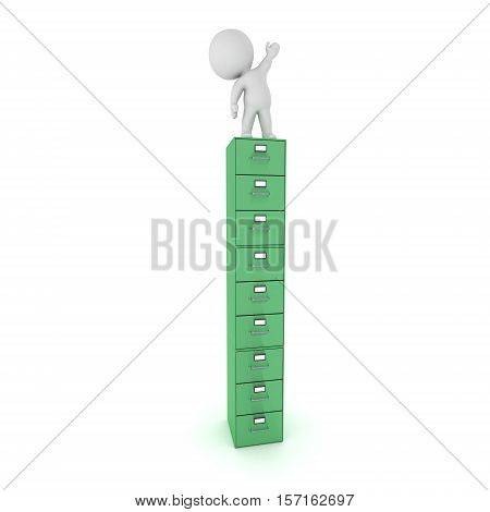 3D character standing on a tall archive cabinet. Isolated on white background.
