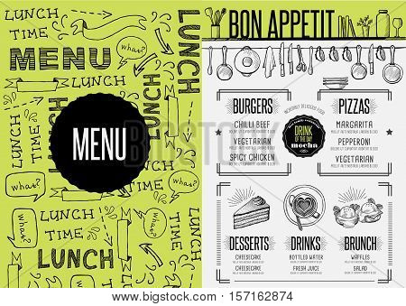 Placemat menu restaurant food brochure cafe template design. Creative vintage brunch flyer with hand-drawn graphic.