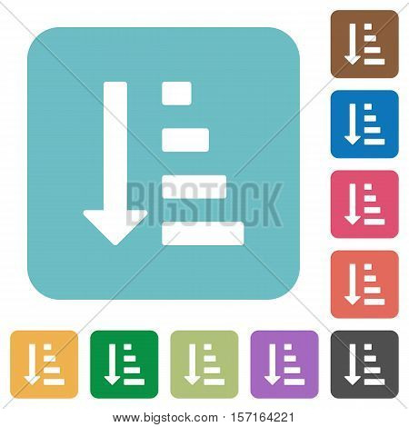 Ascending ordered list mode white flat icons on color rounded square backgrounds