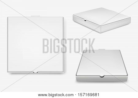 White pizza box template isolated on white background. Vector EPS10 illustration.