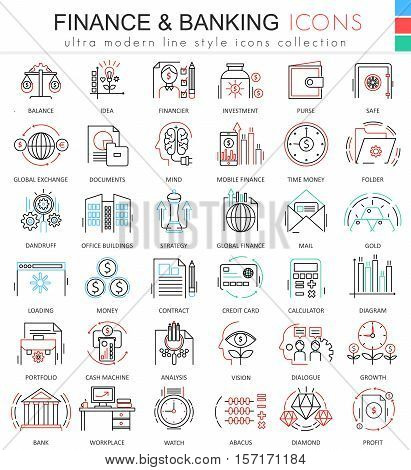 Vector finance and banking ultra modern color outline line icons for apps and web design. Finance money icons set