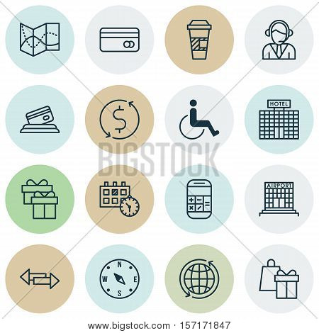 Set Of Travel Icons On Accessibility, Takeaway Coffee And Shopping Topics. Editable Vector Illustrat