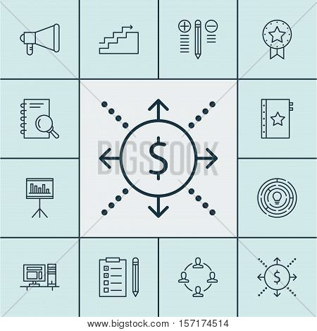 Set Of Project Management Icons On Presentation, Collaboration And Money Topics. Editable Vector Ill